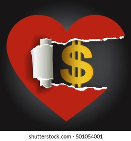 Heart and dollar symbol. Ripped paper heart with dollar symbol. Vector available.