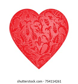 heart doodle is decorated with flowers, Valentine's card