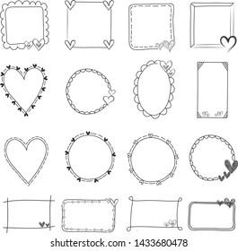 Heart Doodle frames hand drawn. empty frame vintage vector set.