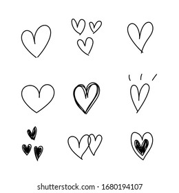 Heart Doodle Hand Draw, vector illustration
