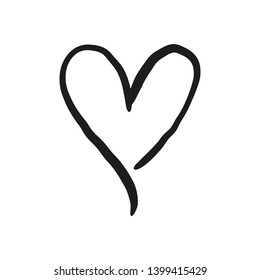 Heart doodle, handmade love icon.