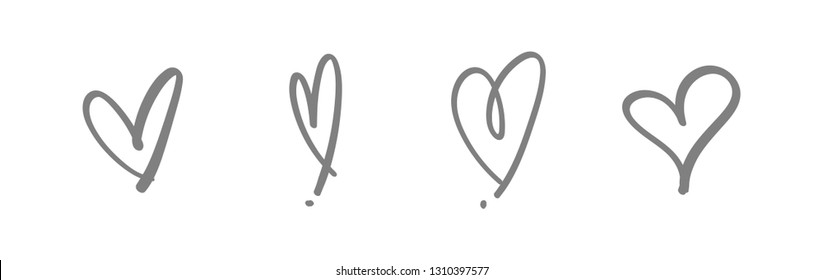 Heart doodle icons, hand drawn love symbols