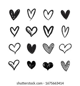 Heart doodles collection. Love symbol illustration. Hand drawn Hearts.