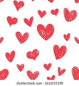 Heart doodles seamless pattern. Hand drawn love symbols, valentine's day hearts texture.