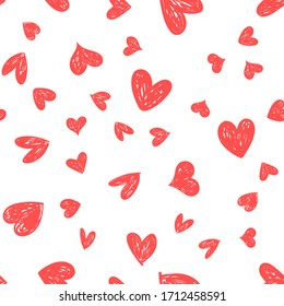 Heart doodles seamless pattern. Hand drawn hearts texture. Valentine's day romantic background.