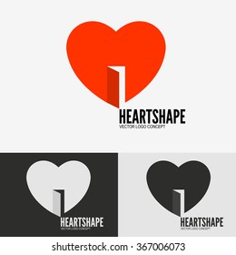 Heart with door, open heart symbol, logo template for your business presentation