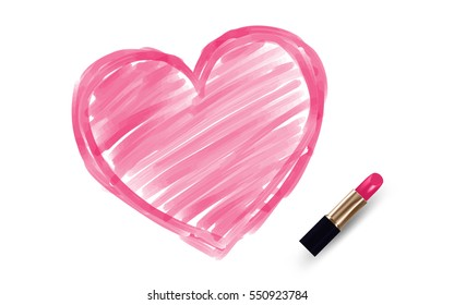 Heart drawing by Lipstick pink color isolated on white background, with copy space