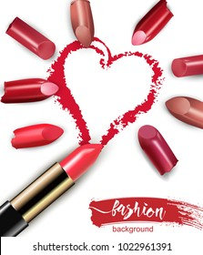 Heart drawn with red lipstick. Broken multicolored lipstick Isolated on white background. valentine day concept Beauty and cosmetics background Vector template.