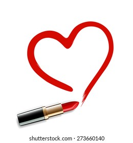 Heart drawn red lipstick. Vector image.