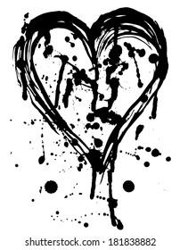 Heart drops of paint black sketch. Vintage Poster. vector