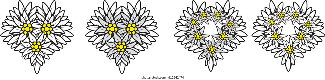 Heart edelweiss flower symbol alpinism