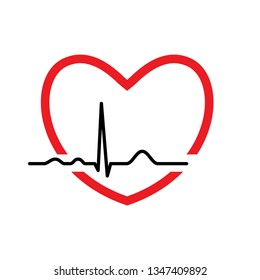 Heart with ekg line. Electrocardiography. Medical design. Vector illustration.