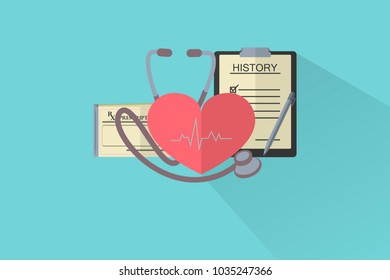 heart with electrocardiogram, stethoscope, medical prescription and clinical history, health care concept, flat style design