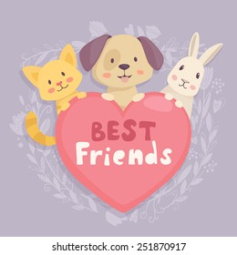 Heart emblem best friends with cat,dog and rabbit characters. Vector illustration on cute floral frame