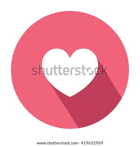 Heart Emoticon Symbol Flat Style Shadow Stock Vector Royalty Free