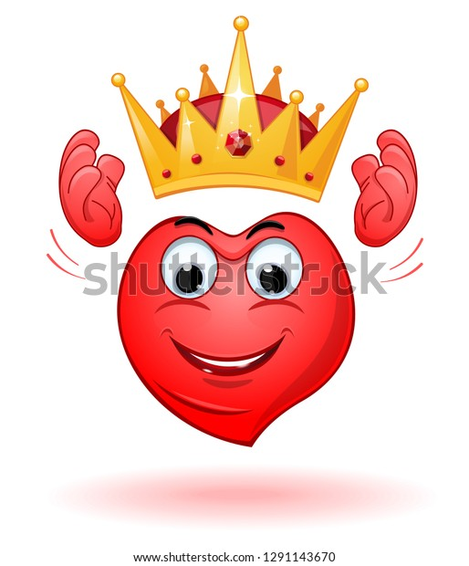Heart Emoticon Wears Crown Cartoon Smiling Stock Vector Royalty Free 1291143670 Find gifs with the latest and newest hashtags! shutterstock