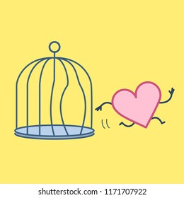 Heart escaping out of the bird cage. Vector concept illustration of free heart and soul running out of the prison | flat design linear infographic icon on yellow background