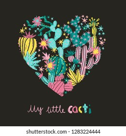Heart with exotic blossom succulents and cactus. Romantic stylish vector illustration. Perfect for card or t-shirt print