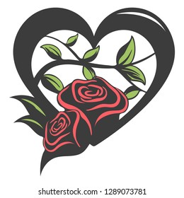 Heart filled with roses and leaves