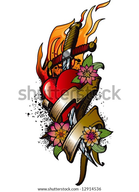 Heart Fire Flowers Tattoo Design Stock Vector Royalty Free 12914536
