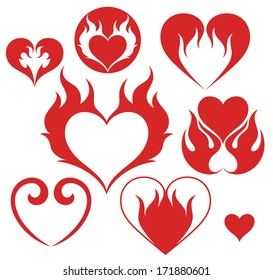 Heart. Fire. Isolated icons on white background