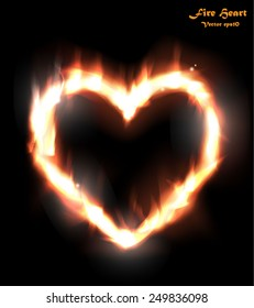 Heart in Fire. Vector eps10.