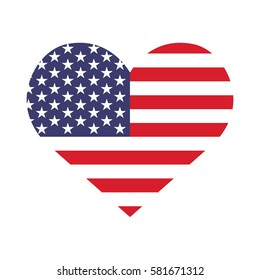 Heart with flag of the United States