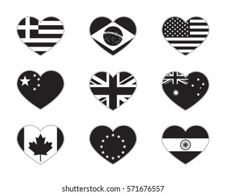 Heart flags, black isolated on white background, vector illustration.