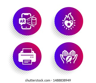 Heart flame, Augmented reality and Printer icons simple set. Halftone dots button. Coffee sign. Love fire, Phone simulation, Printing device. Roasted bean. Business set. Vector