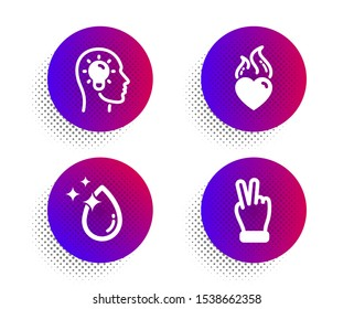 Heart flame, Idea head and Water drop icons simple set. Halftone dots button. Victory hand sign. Love fire, Lightbulb, Crystal aqua. Gesture palm. Business set. Classic flat heart flame icon. Vector