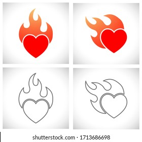 heart flame love and passion concept icon
