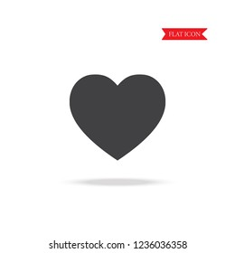Heart flat icon with shadow vector illustration eps10.
