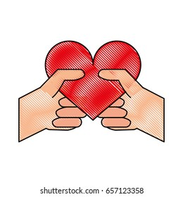 heart flat illustration scribble