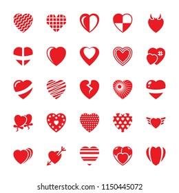 Heart Flat Vector Icons Set