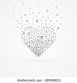 Heart from floating tunes isolated on white.