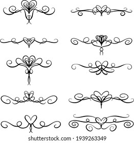 Heart Flourishes, Borders and Decorative Lines for Valentines Day or Weddings Vector Illustration