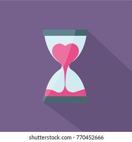 heart flow in hourglass and sand glass flat design vector for valentines day. silvester countdown measurment. time for love concept creative carton isolated. break up and sorry. run out. happy new year