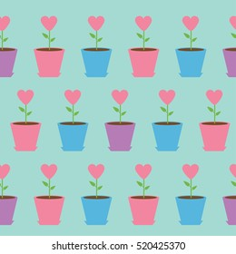 Heart Flower In Pot Seamless Pattern Wrapping Paper Textile Template Blue Background