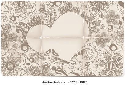 Heart, flowers, birds doodle