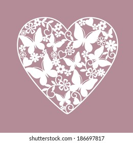 heart from flowers and butterflies