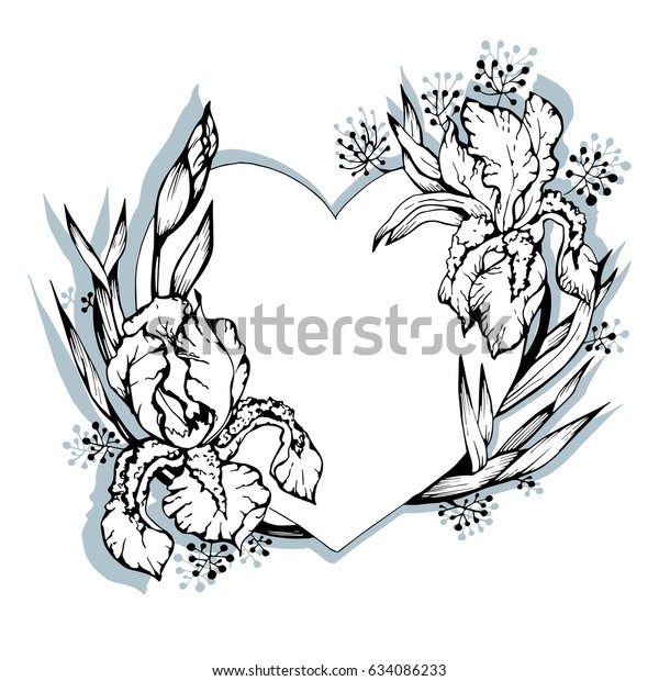 4000ccea2d6a6 Heart and flowers, irises, black and white pattern. Vector Illustration for  tattoo or