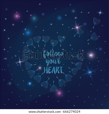 Heart Flying Dandelion Seeds Inspirational Quote Stock Vector