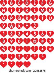 Heart Font - letters in hearts