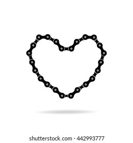 Heart in the form of a bicycle chain