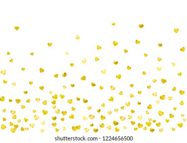 Heart frame background with gold glitter. Valentines day. Vector confetti. Hand drawn texture. Love theme for gift coupons, vouchers, ads, events. Wedding and bridal template with heart frame.