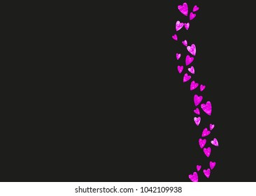 Heart frame background with pink glitter. Valentines day. Vector confetti. Hand drawn texture. Love theme for party invite, retail offer and ad. Wedding and bridal template with heart frame.
