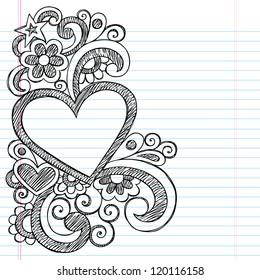 Heart Frame Border Back to School Sketchy Notebook Doodles- Vector Illustration Design on Lined Sketchbook Paper Background