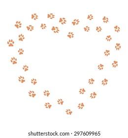 Heart frame with dog tracks isolated on white background. Vector illustration.