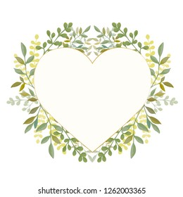 Heart frame with leaves
