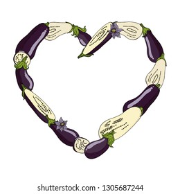 Heart frame made of eggplants , eggplant slices and flowers. Template with fresh vegetables on white background for your design
